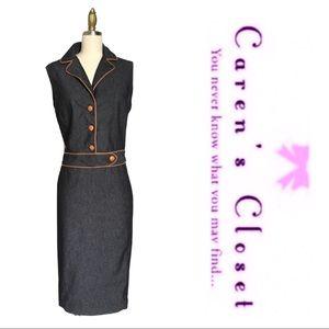 Zara Black Rinse Stretch Denim Sheath Dress